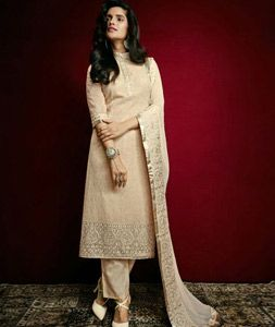 Buy Beige Faux Georgette Pakistani Style Suit 77449 online at lowest price from huge collection of salwar kameez at Indianclothstore.com.