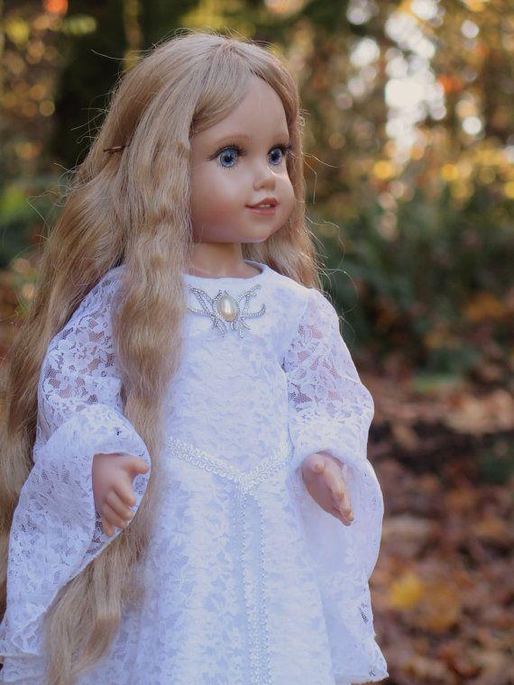 American Girl Galadriel Dress - LOTR Galadriel Lace Mirror Gown - The Hobbit Doll - 18 Inch Doll Medieval Dress - Doll Lace Wedding Dress