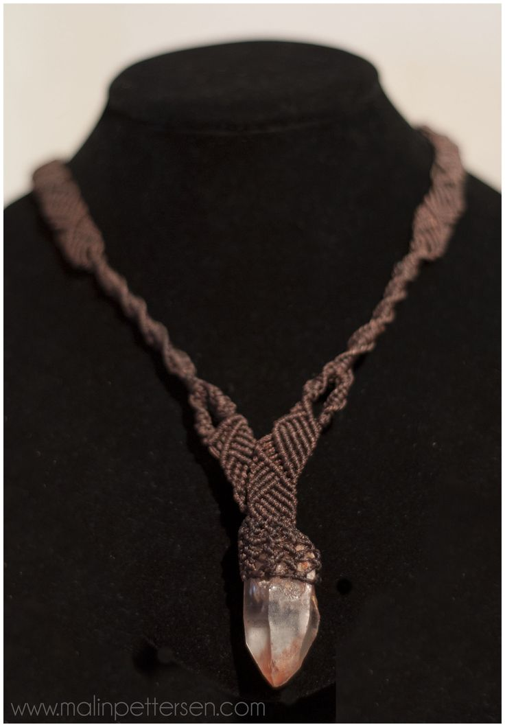 macrame necklace with quartz pendant. Commissioned work.  www.malinpettersen.com