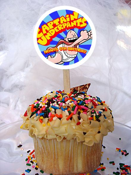 Captain Underpants Personalized Cupcake Toppers Set of 6 ...
