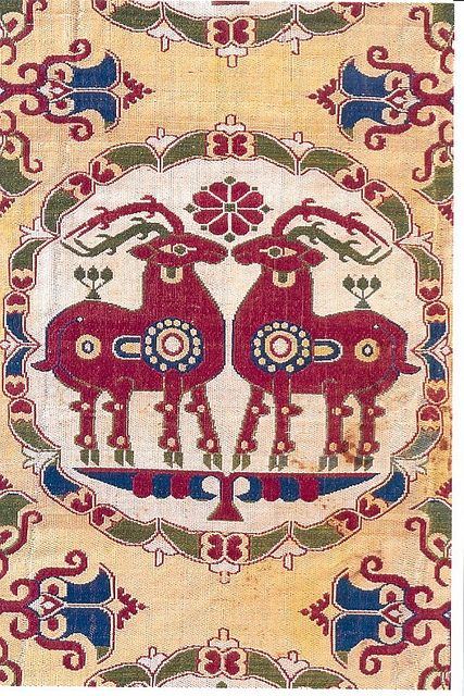 Sogdia C7th silk confronted stags: