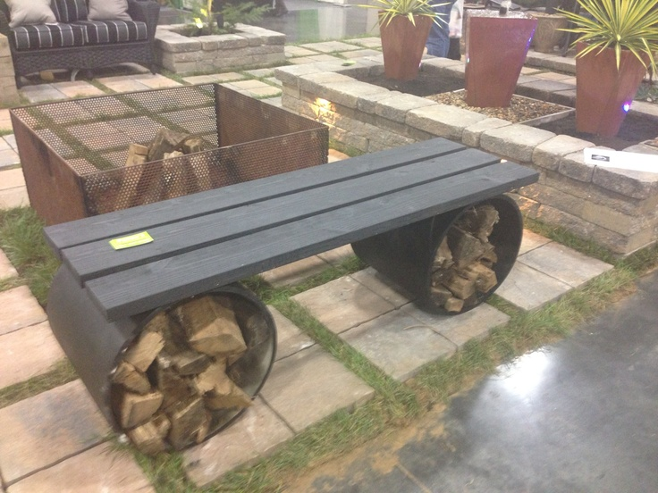 Bench for fire pit with wood storage