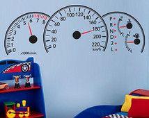 Leuke muursticker (of wandschildering) dashboard van een race auto