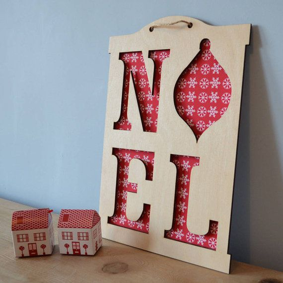 Wooden Noel Sign And Letter Decorations with a choice of background prints - add your child's photo or artwork to personalise