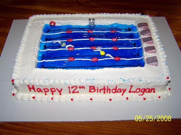 Swimming Pool Cake For Logan 39 S Birthday Fondant Ladder