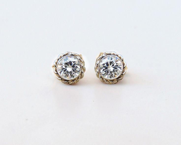 Forever One Moissanite Stud Earrings, Moissanite Earrings, Moissanite Studs, Rope Earrings, Nautical Earrings, ForeverOne, Diamond Earrings by LaraMogensen on Etsy