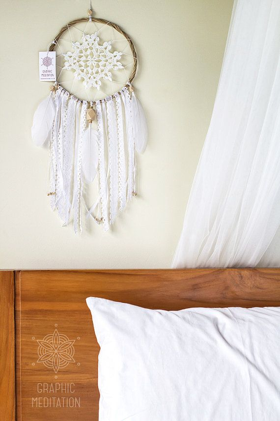 Beautiful Bohemian White Dream Catcher with crochet doily by GraphicMeditation