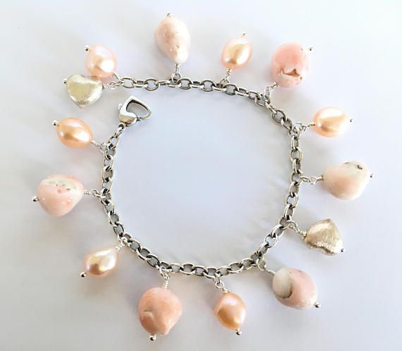 Genuine Pink Coral & Baroque Freshwater Pearl Sterling Silver