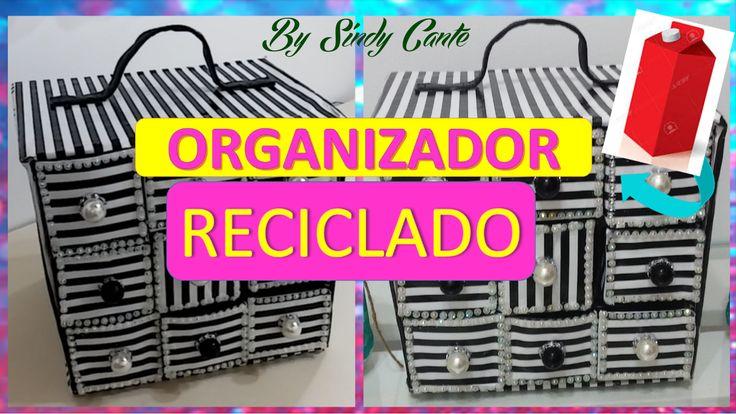 Organizador reciclado con cajas de leche tetrapack