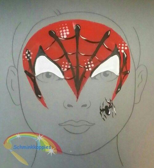 Child Design Spiderman painted by Schminkkoppies. Facepaint www.schminkkoppies.nl
