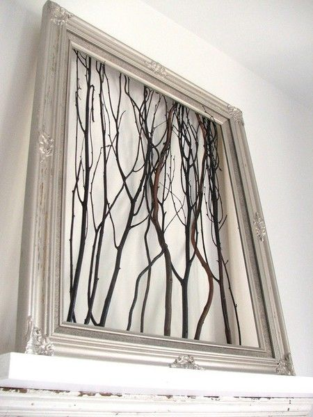 "I think when/if I try this I'll add colored paper or a collage landscape in the background.    ""I just made this. Chose some awesome red branches from our woods and stapled them behind a horizontal wood frame. Gorgeous!  Put it above our bed."""