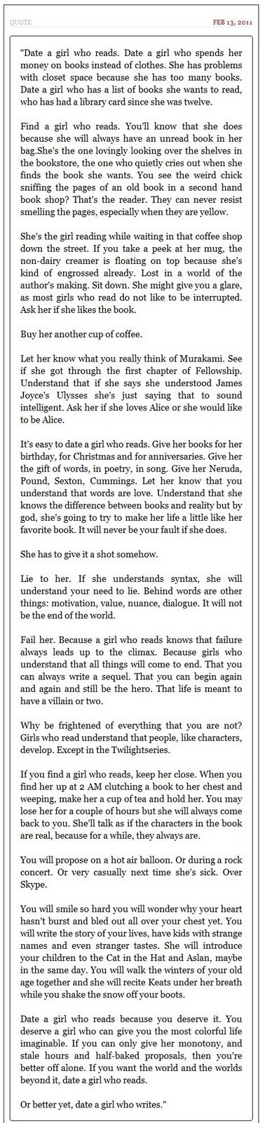date a girl who reads...