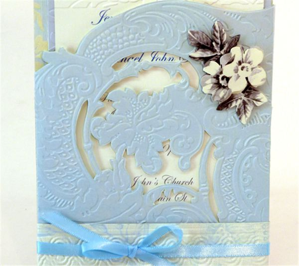 Project center blue embossed pocket invitation anna for Pocket wedding invitations cricut