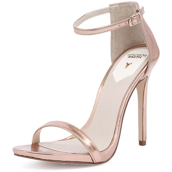 Windsor Smith Crawwl Rose Gold (140 AUD) ❤ liked on Polyvore featuring shoes, sandals, heels, strappy platform sandals, high heel sandals, platform sandals, strappy heeled sandals and rose gold sandals
