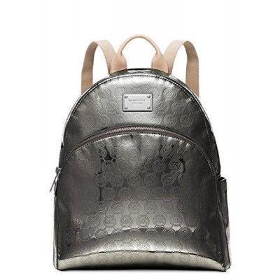 MICHAEL Michael Kors Jet Set Monogram Mirror Metallic Backpack,Nickel