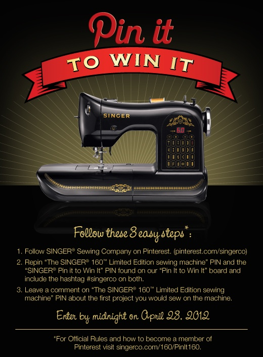 Going to try to win one!  I think it is so vintage and high tech at the same time!    For official rules please visit:   http://www.singerco.com/160/PinIt160  #singerco (Repin me!)    #singerco