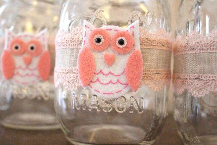 Girl Baby Shower Owl Centerpiece Mason Jar Wraps, owl themed girl baby shower decorations, woodland themed girl baby shower decor vases