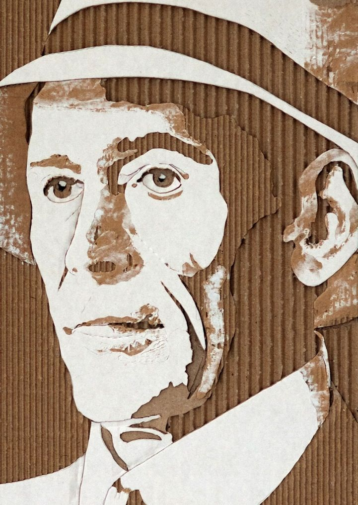 Rather than simply throwing away a cardboard box, artist Giles Oldershaw redesigns the discarded packaging he comes across as creative, layered portraits. By carving and tearing away at the material, Oldershaw exposes the ribbed texture sealed within. His meticulous precision and artistic ingenuity results in a spectacular set of Cardboard Relief Portraits.  Mr. Peter O'Toole