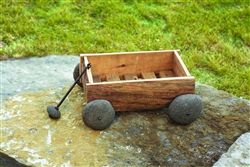 Wood and River Stone Wagon Planter with Wire and Stone Handle by Ancient Graffiti