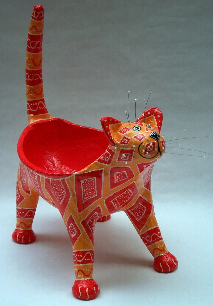 Papier Mache Cat Bowl More