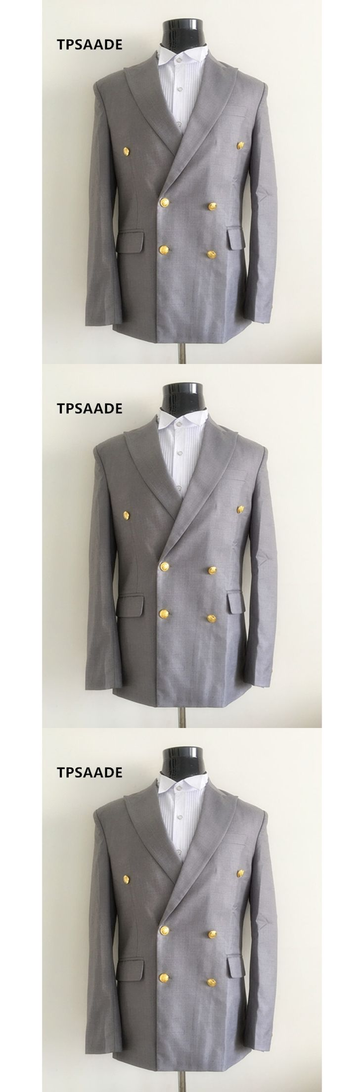 RealPhoto Gray Terno Cheap Tuxedo Prom Mens Suits Double Breasted Wedding Suit Slim Fit 2017 Blazer 3 Pieces (Jacket+Pants+Vest)