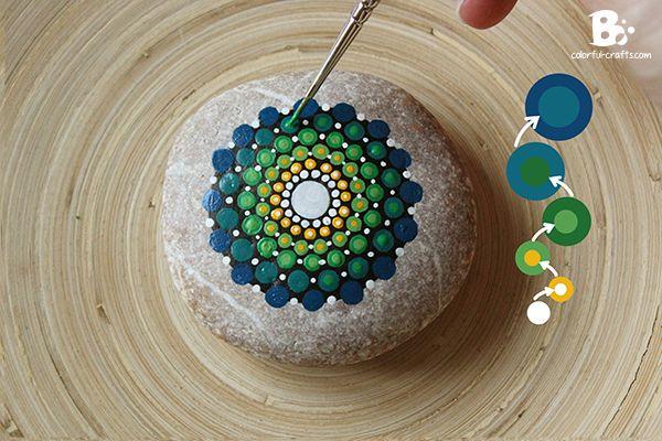 How to add depth to your mandala pattern! #Mandala Stone Tutorial – green blue