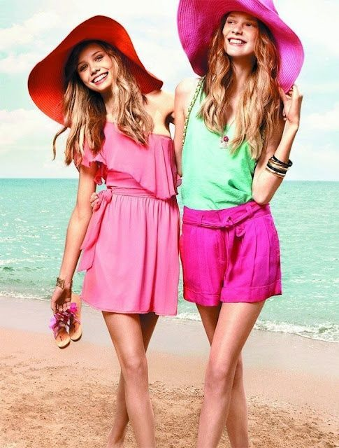 Hot pink & red summer hats