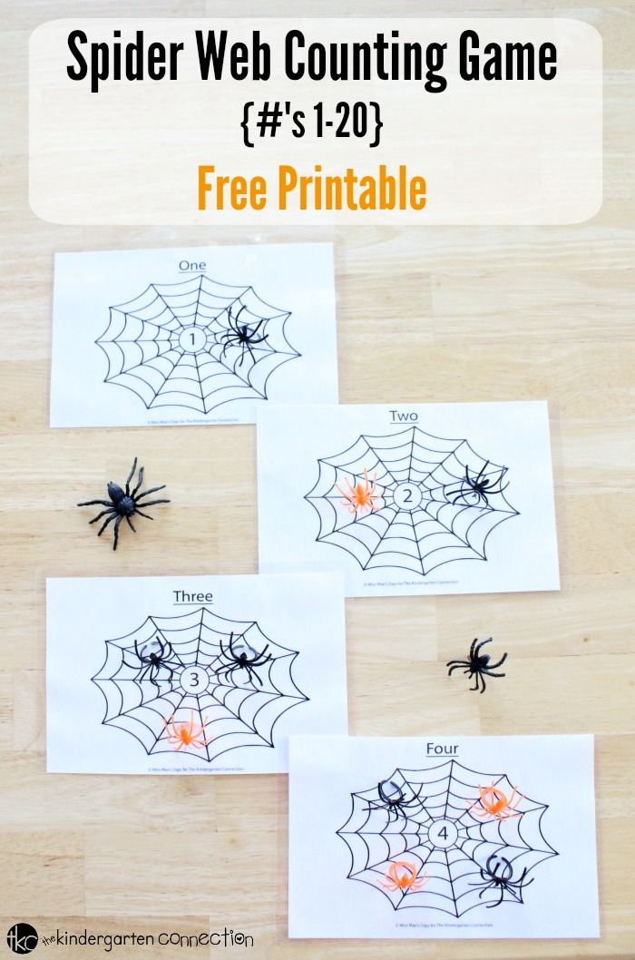 This spider web counting game is a great math center for working on one to one correspondence and number recognition with pre-k and kindergarten!