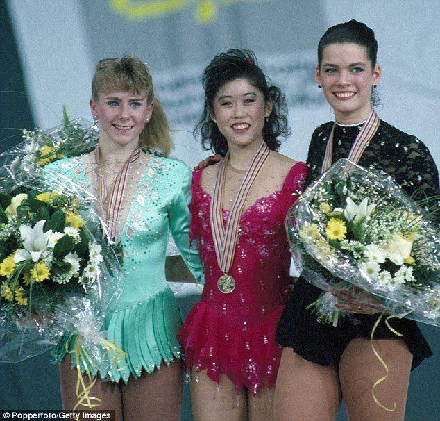 Competitors:(L-R) Silver Medallist Tonya Harding, Gold Medallist Kristi Yamaguchi and Bronze Medallist Nancy Kerrigan during the awards ceremony  at the World Figure Skating Championships in Munich 1991