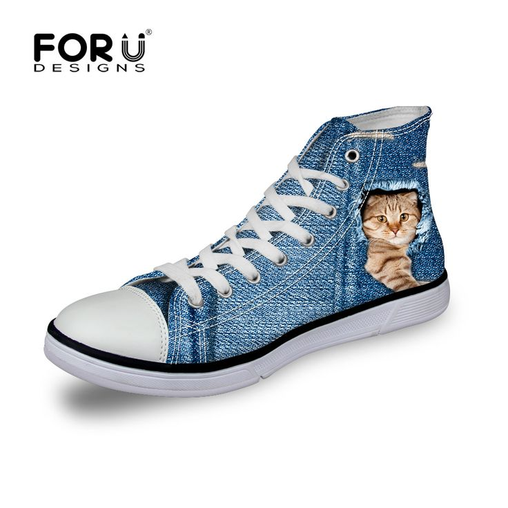 FORUDESIGNS Women Flats Blue Shoes 3D Printed Cute Cat Dog Woman Casual  Canvas Platform Shoes Denim