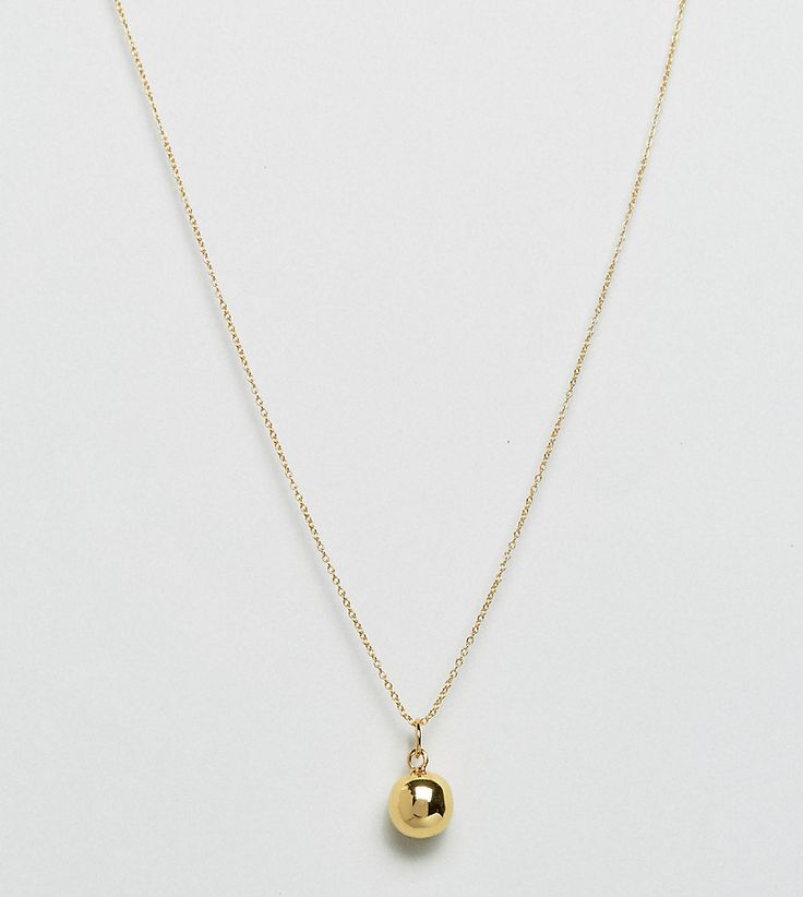 ASOS Gold Plated Sterling Silver Ball Pendant Necklace - Gold