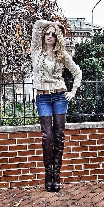 Thigh boots, jeans, and sweater