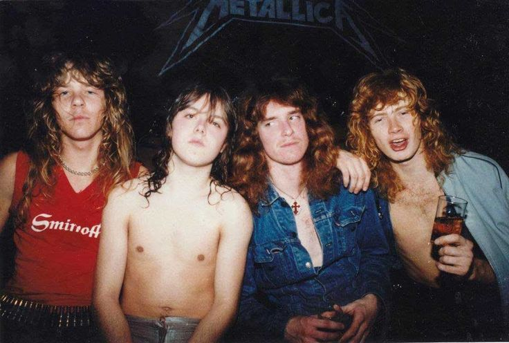 James Hetfield, Lars Ulrich, Cliff Burton and Dave Mustaine | Rare and beautiful celebrity photos