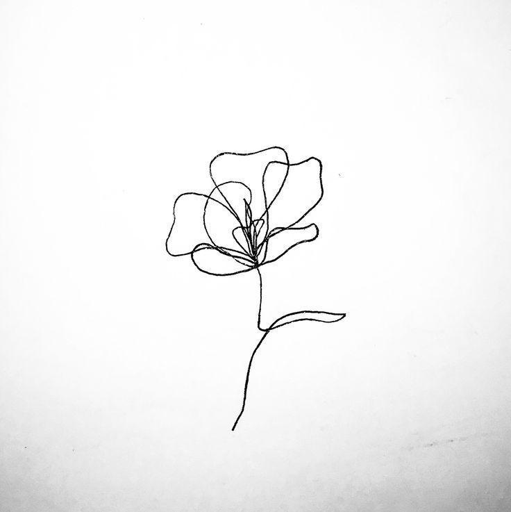 Continuous line flower tattoo idea #blu …
