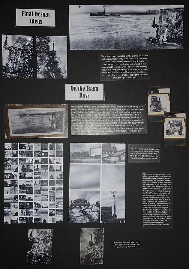 The final A Level Preparatory sheet shows smaller versions of the pieces that were completed in the exam: a dramatic, horizontal piece that combines earlier composite images into a single work; photographs of the work printed at large scale and framed; and selected close-up details of the final piece that might be overlooked when viewing the composition as a whole.