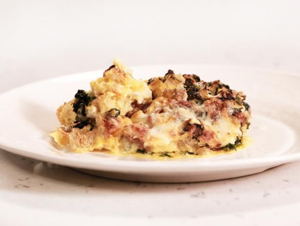 Get The Ultimate Breakfast for Dinner: Sausage and Spinach Egg Strata Recipe from Food Network
