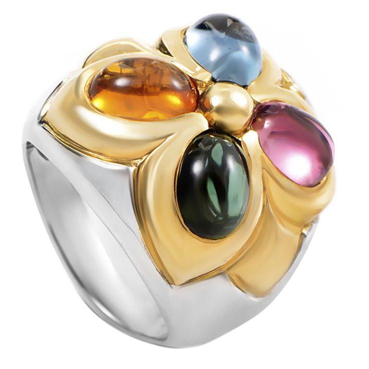 bulgari gemstone multigold ring