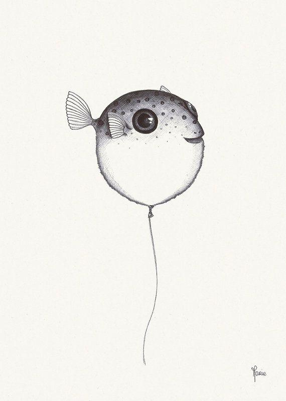 Affiche Illustration Poisson Ballon Noir Et Blanc Dessin