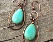 Turquoise Jewelry Silver Hoop Earrings Silver by Lammergeier