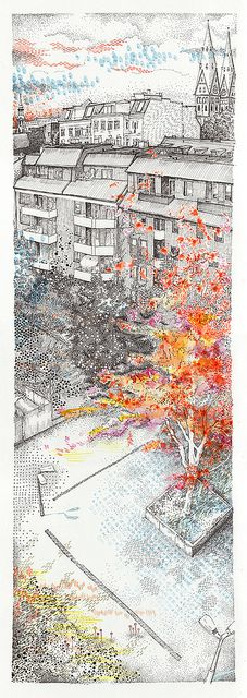 "autumn  - location drawing - ""Fenster 74"" Hamburg - St. Georg, Germany"