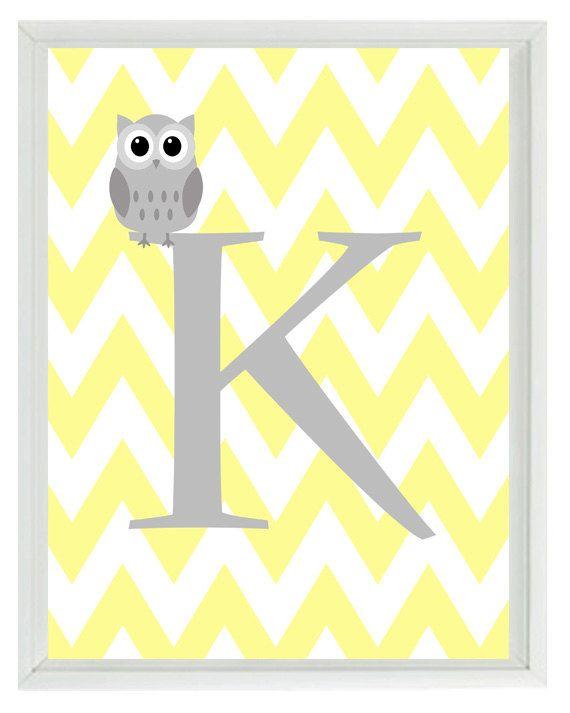 Chevron Initial Letter Art Print - Owl Nursery Yellow Gray Personalized Custom  - Wall Art Home Decor 8x10 Print. $15.00, via Etsy.