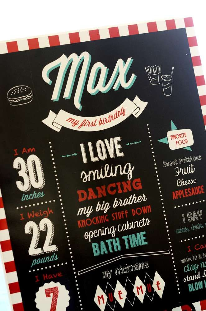 Chalkboard sign at a  50's diner retro birthday party! See more party ideas at CatchMyParty.com!