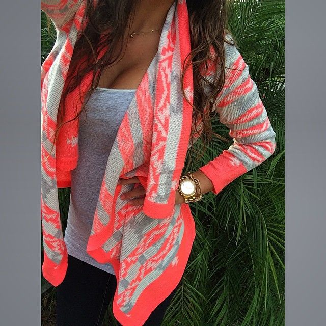 Coral Gray White Aztec Tribal Open Front Draped Flowy Cardigan Knit Loose PLUS