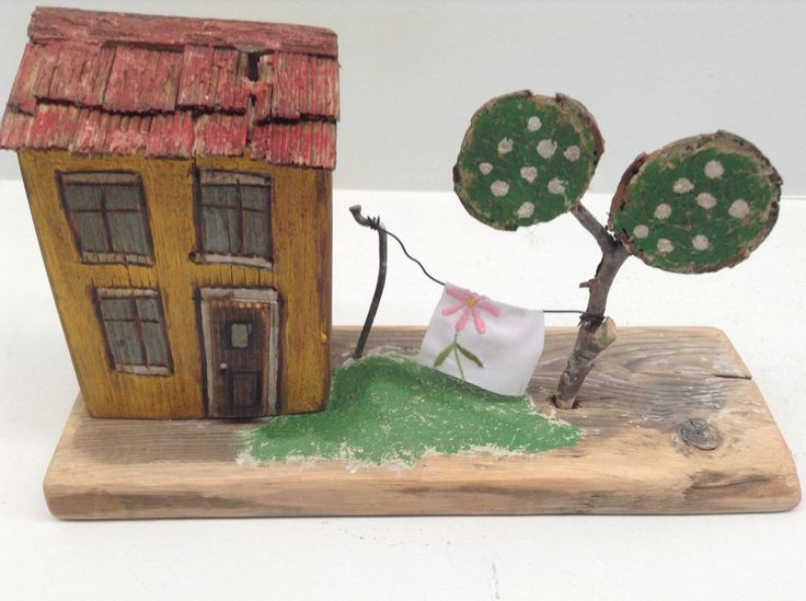 173 -little wood house, yellow with tree and laundry line. Greytimberwolfcrafts by Greytimberwolfcrafts on Etsy