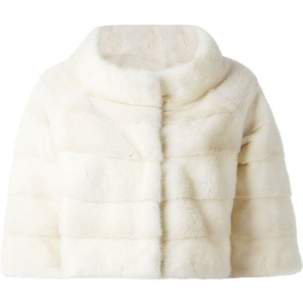Liska fur cropped jacket (36,180 SVC) ❤ liked on Polyvore featuring outerwear, jackets, coats, fur, 3/4 sleeve jacket, cropped jacket, fur jacket, white jacket and liska