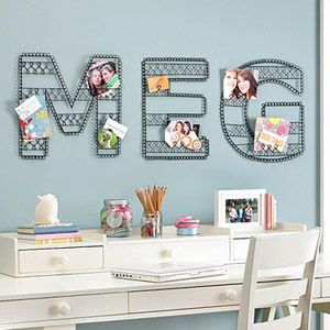 Wire wall letters are perfect for displaying photos in your kid's room!