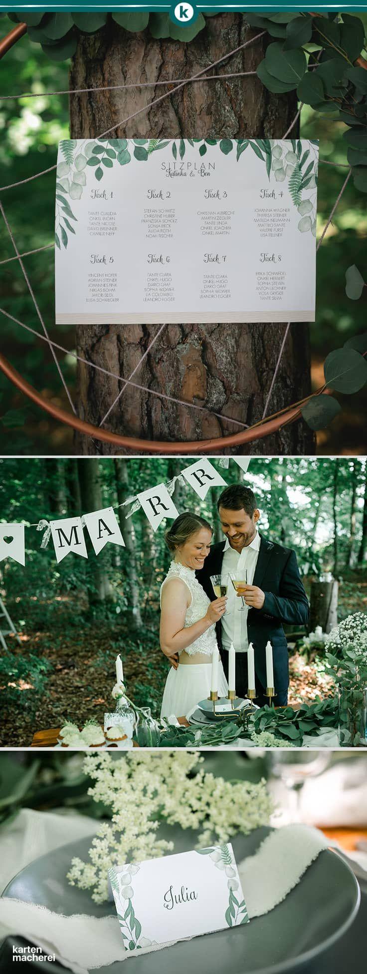 So schön ist heiraten im Sommer. Dekoriert eure Hochzeitstafel mit grünen Blä…