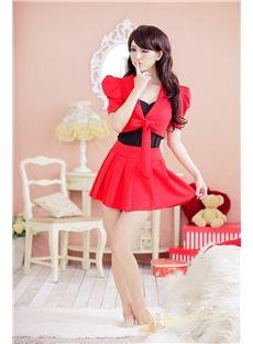 赤いネクタイウエストトップとスカート販売卸売トップ
