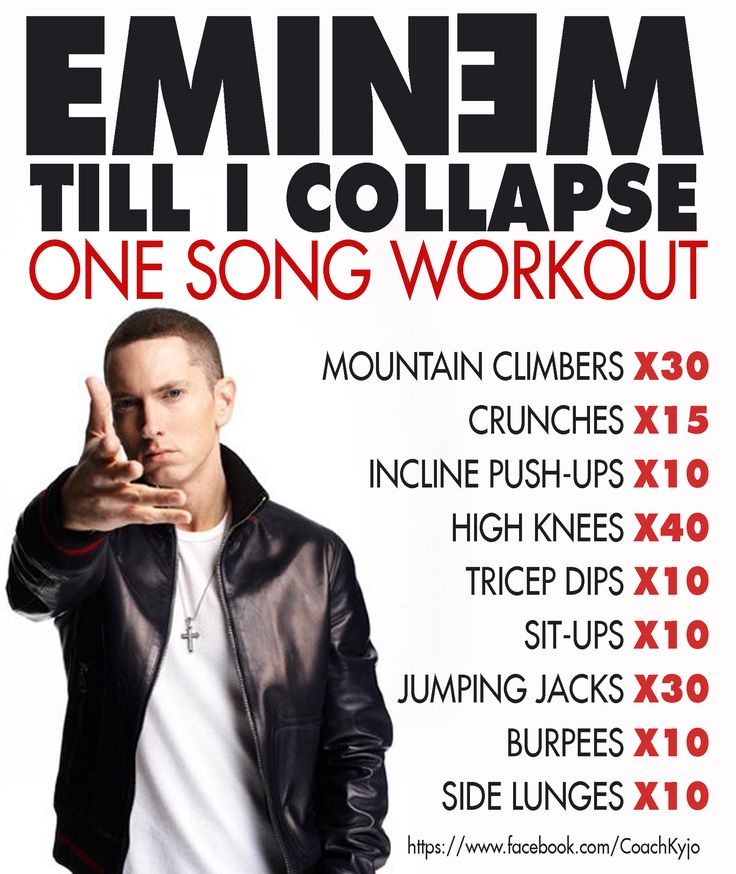 ONE SONG WORKOUT  EMINEM - Till I Collapse -https://www.youtube.com/watch?v=gY9C0ItyO0k  https://www.facebook.com/CoachKyjo
