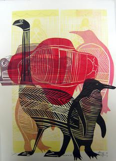 Printmaking - sheyne tuffery, imagine doubles of animals nestled spooned?
